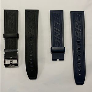 Breitling Black and Blue rubber straps for tang